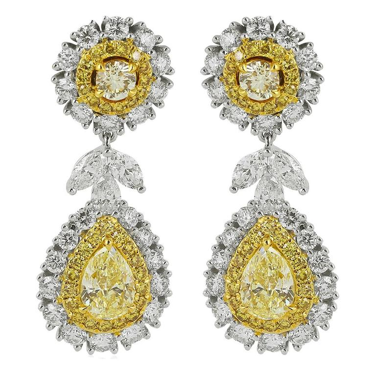 Canary and Colorless Diamond Drop Earrings