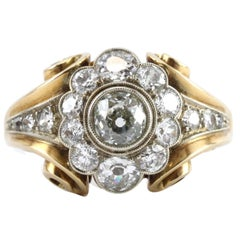 1940s Retro Diamond Gold Cluster Ring