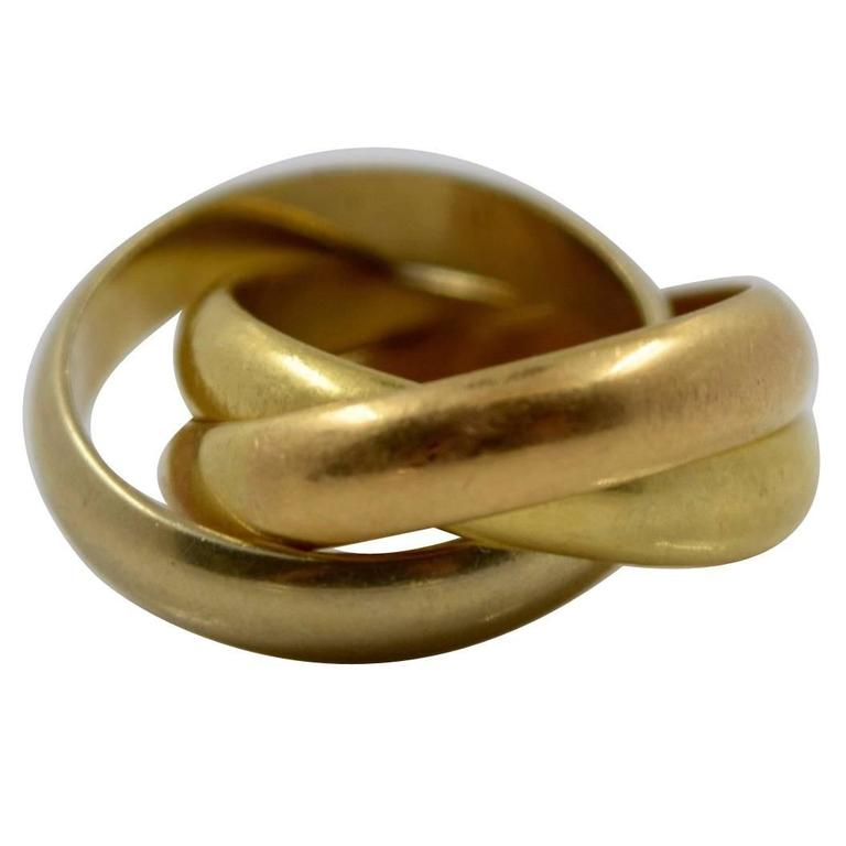 cartier de cartier three color gold band ring for