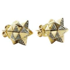 John Brevard Tetra Diamond Gold Stud Earrings