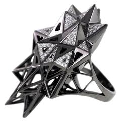 John Brevard Black Stellated Star Diamond Gold Ring