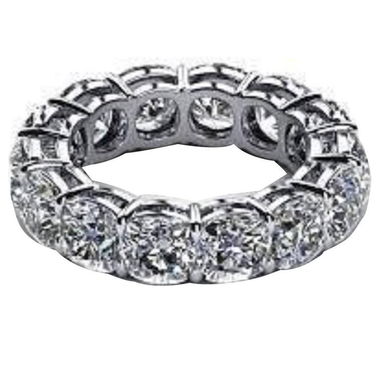 5.60 Carat Diamonds Platinum Eternity Band Ring For Sale