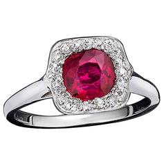 Untreated Burma Ruby Diamond Ring