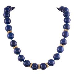 "Seaman Schepps Lapis Diamond Gold ""Lightship"" Necklace"