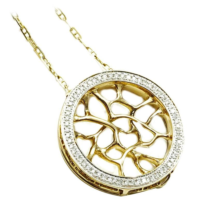 John Brevard Diamond Gold Web Necklace For Sale