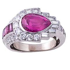 Art Deco Unheated Ruby Diamond Platinum Ring