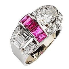 Art Deco 1.25 Carat F-G Diamond Ruby Platinum Buckle Ring