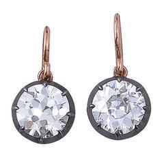 Antique Diamond Silver Gold Single-Stone Earrings