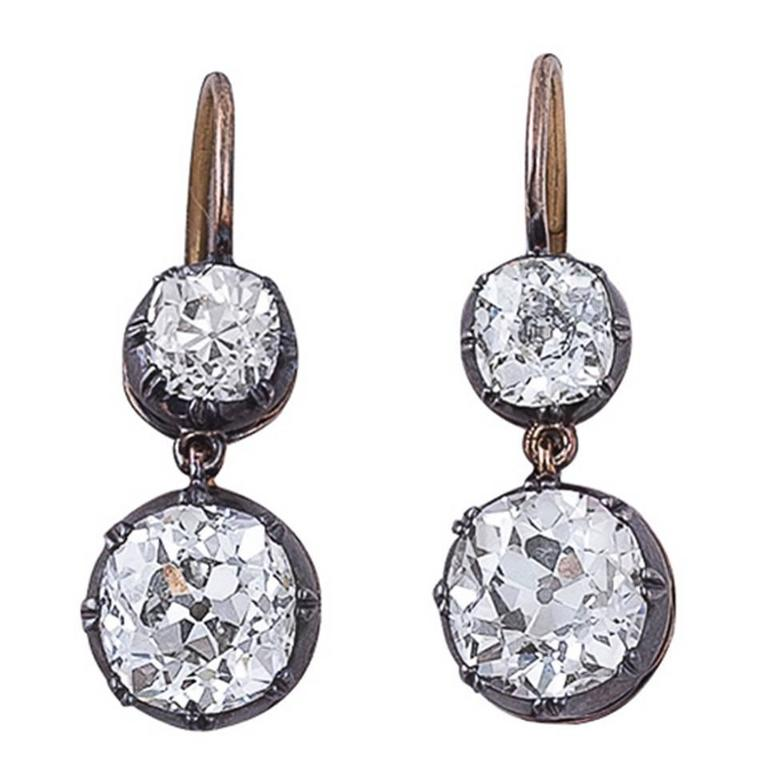 Victorian 8.31 Carats Diamond, Silver & Gold Two-Stone Earrings