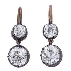Victorian Diamond, Silver & Gold Two-Stone Earrings