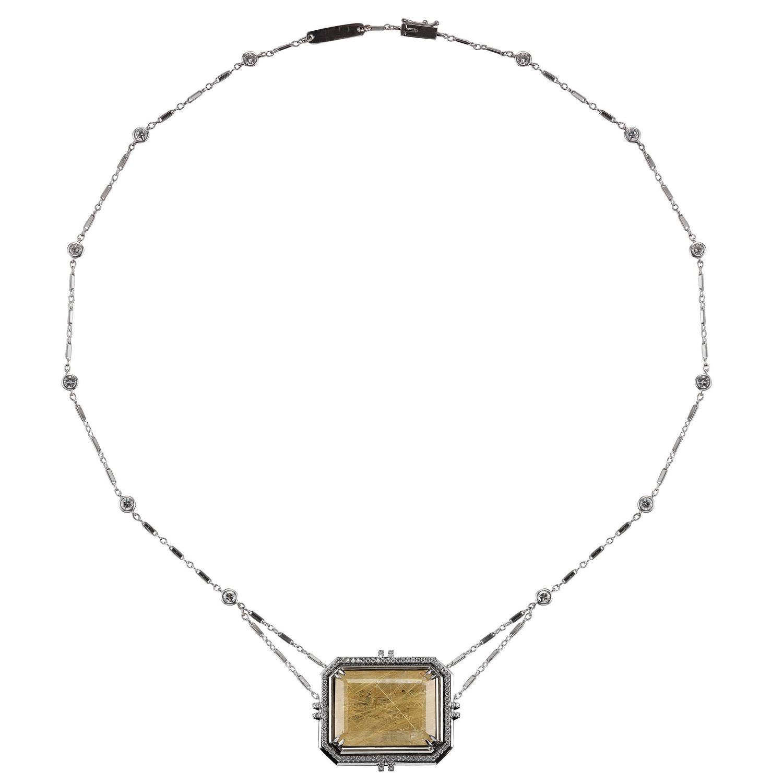 Emerald Cut Rutilated Quartz Pendant Necklace With Bezel