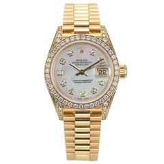 Rolex Lady's Yellow Gold Diamond President Automatic Wristwatch