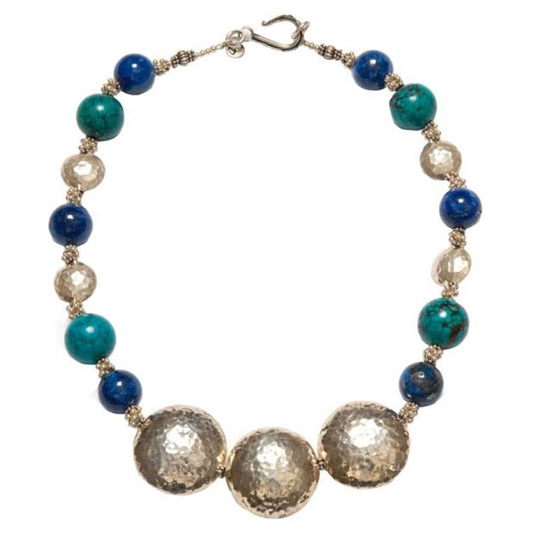 Deborah Liebman Lapis Blue Turquoise Hilltribe and Turkish Silver Necklace