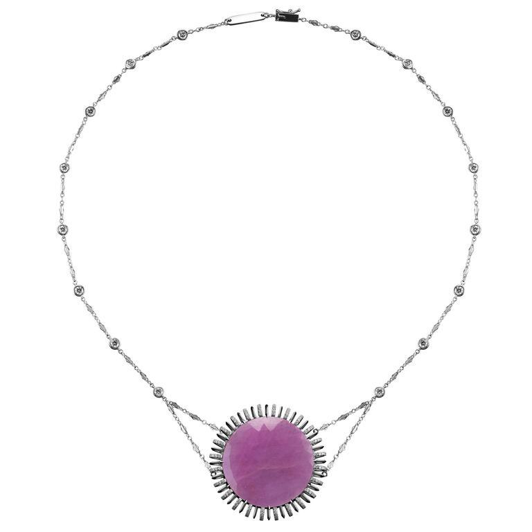 Alexandra Mor Pink Sapphire Slice Pendant Necklace with Bezel-Set Diamond Chain