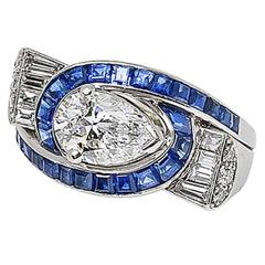 Oscar Heyman Art Deco GIA Cert. 1.39 Ct. D-Color Diamond Sapphire Platinum Ring