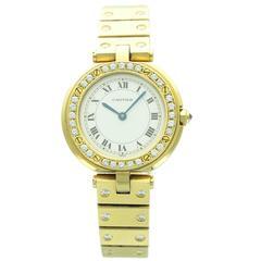 Cartier Yellow Gold Diamond Santos Round Wristwatch