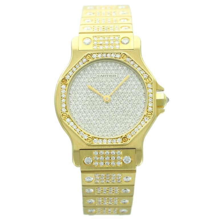 Cartier Yellow Gold Diamond Pave Dial Santos Octagon ...