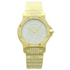 Cartier Yellow Gold Diamond Pave Dial Santos Octagon Wristwatch