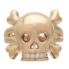 Dior Diamond Gold Skull Motif Ring