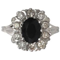 1976 2.85 Carat Sapphire & Diamond White Gold Cocktail Ring