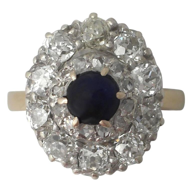 1.02Ct Sapphire and 1.83Ct Diamond, 18k Yellow Gold Cluster Ring - Antique
