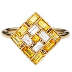 Sabine Getty Yellow Sapphire Diamond Harlequin Ring