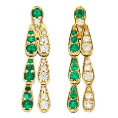 Sabine Getty Art Deco Style Emerald Diamond Gold Harlequin Earrings