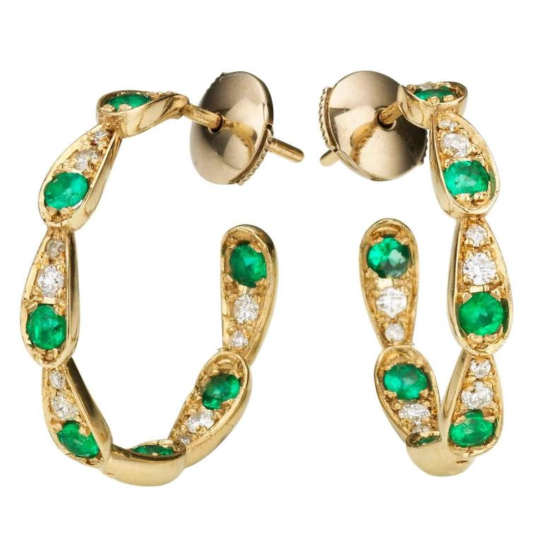 Sabine Getty Emerald Diamond Harlequin Hoop Earrings