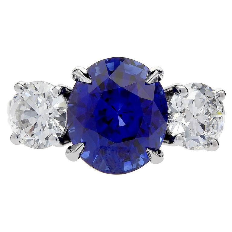 6.01 Carat Ceylon Sapphire Diamond Platinum Ring