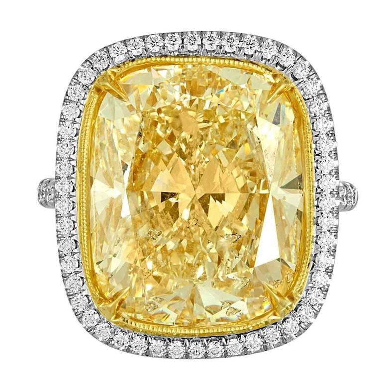 17.18 Carat Cushion Cut Yellow Diamond Gold Platinum Handmade Ring