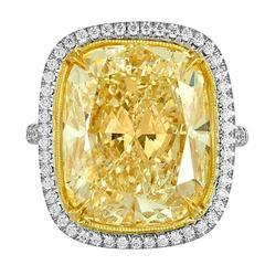 17.18 Carat Cushion Cut Yellow Diamond Gold Platinum Hand Made Ring