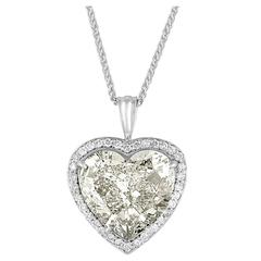 7 Carat GIA Certified Heart Shaped Diamond Gold Pendant