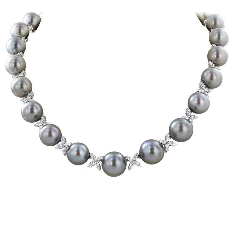 Tahitian Pearl Diamond Gold Necklace
