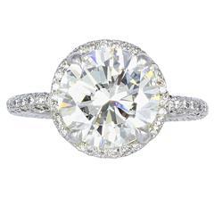 Fred Leighton 3.17 Carat Round Brilliant Cut Diamond GIA Cert  Ring