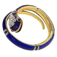 Antique French Diamond, Ruby, Gold and Enamel Serpent Bracelet