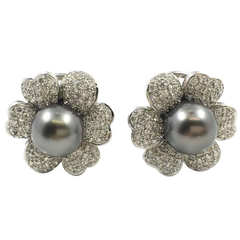 tahitian pearl gold flower earrings at 1stdibs