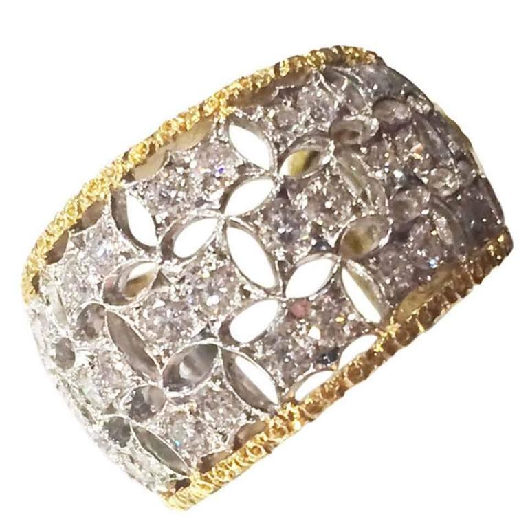 Buccellati Diamond Gold Band Ring