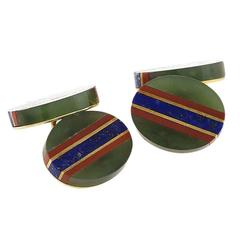 Tiffany & Co. Art Deco Hardstone and Gold Cuff Links