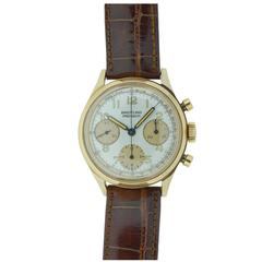 Breitling Yellow Gold Premier Three Register Chronograph Wristwatch