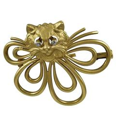Cat Brooch Gold with Moving Diamond Eyes