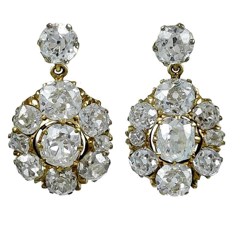 Luminous Antique Diamond Gold Earrings