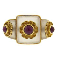 Ilias Lalaounis Frosted Crystal Ruby Gold Ring