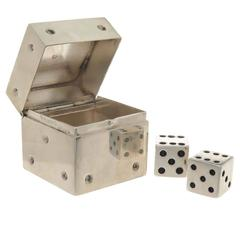 1990s Tiffany & Co. Silver Dice Pill Box with Silver Dice