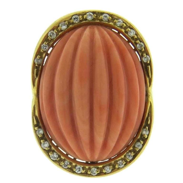 large carved coral gold ring at 1stdibs