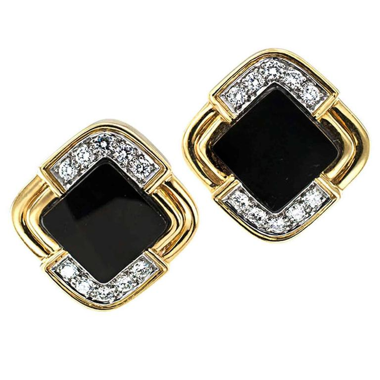 Onyx Diamond Gold Contemporary Earrings For Sale