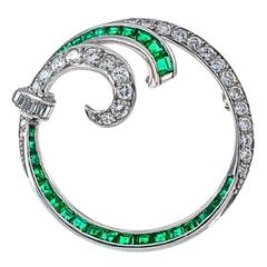 1950 Emerald Diamond Platinum Circle Brooch