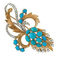 1960s Turquoise Diamond Gold Abstract Brooch