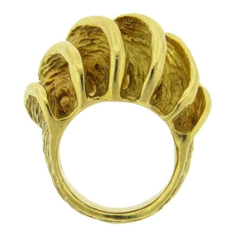 1970s Henry Dunay Gold Textured Wave Dome Ring