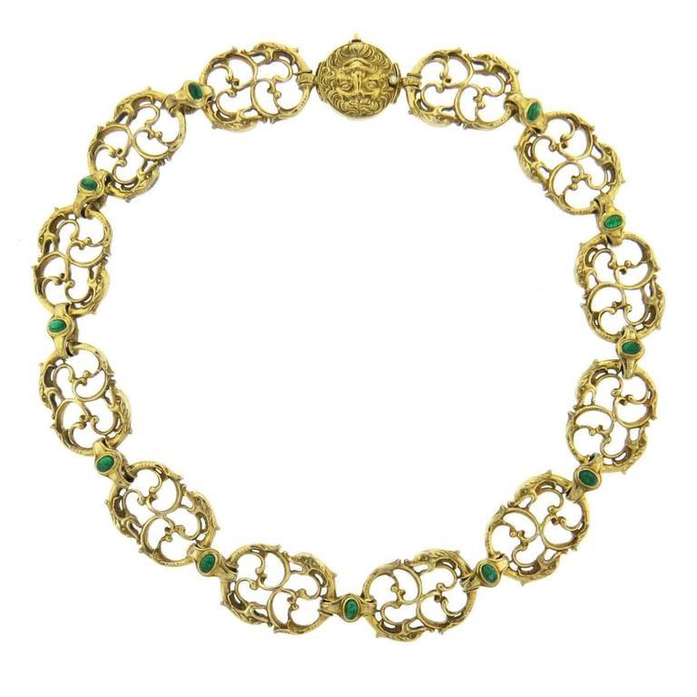 Paul Lantuch Emerald Diamond Gold Snake Link Necklace