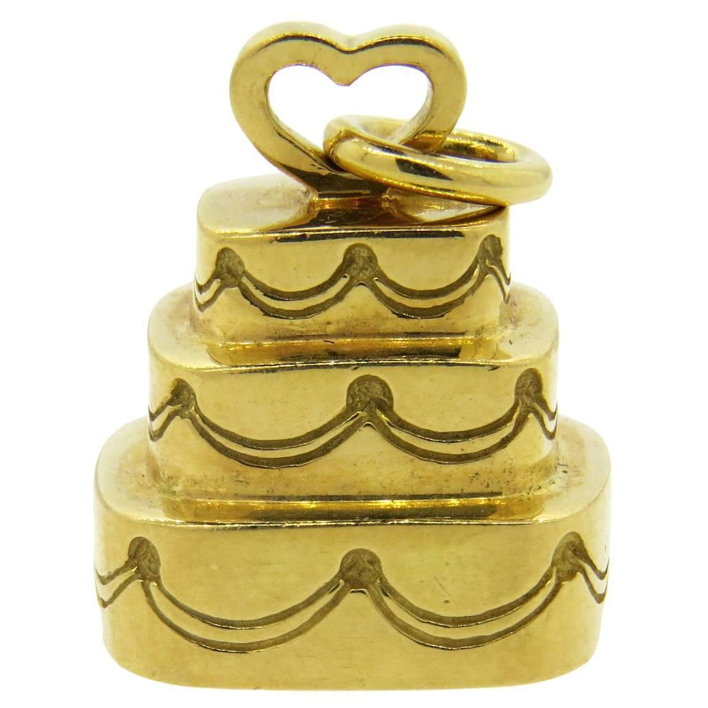 tiffany and co gold wedding cake charm pendant at 1stdibs